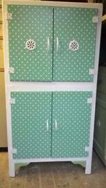 Vintage Retro 50s/60s Small Kitchen Larder unit – Mint green polka dot Vinyl/White - Beach hut.
