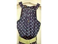 Hobbs Silk Dress, size 8, polka dot blue with lime green belt.