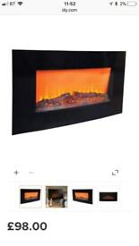 BLACK LED REMOTE CONTROL ELECTRIC FIRE