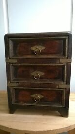Reproduction Indian miniature wooden chest of drawers/jewellery box