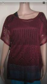 Ladies mesh top. Red size 20.