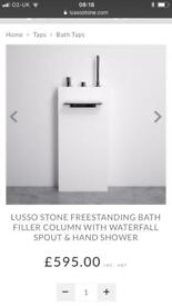 Free standing bath waterfall spout & hand shower