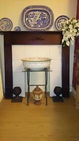 Vintage dark wood fire surround look