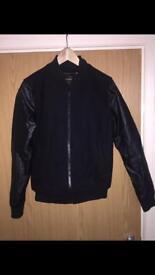 TOPMAN Baseball Jacket with Leather Sleeves