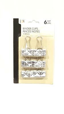 New Jot Black And White Damask Binder Clips 32mm - 6 Pc - Nwt