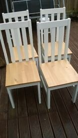 Four Pine and White Dining Chairs