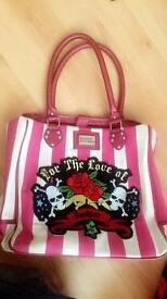 Ladies large pink striped boutique handbag