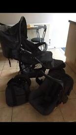 Black 3 wheeler pram plus accessories