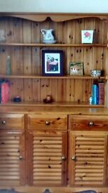 Pine Dresser with display shelves on top and cupboards beneath