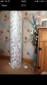 Tall plastic floral lamp approx one metre.