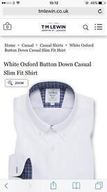 White oxford button down casual slim fit shirt x 2