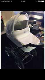 Vib white limited edition leather Swarovski crystal pram