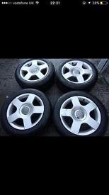 4 x 16 inch Audi A4 alloys with very good condition tyres