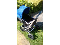Mothercare xpedior buggy pushchair pram with carseat footmuff & raincover