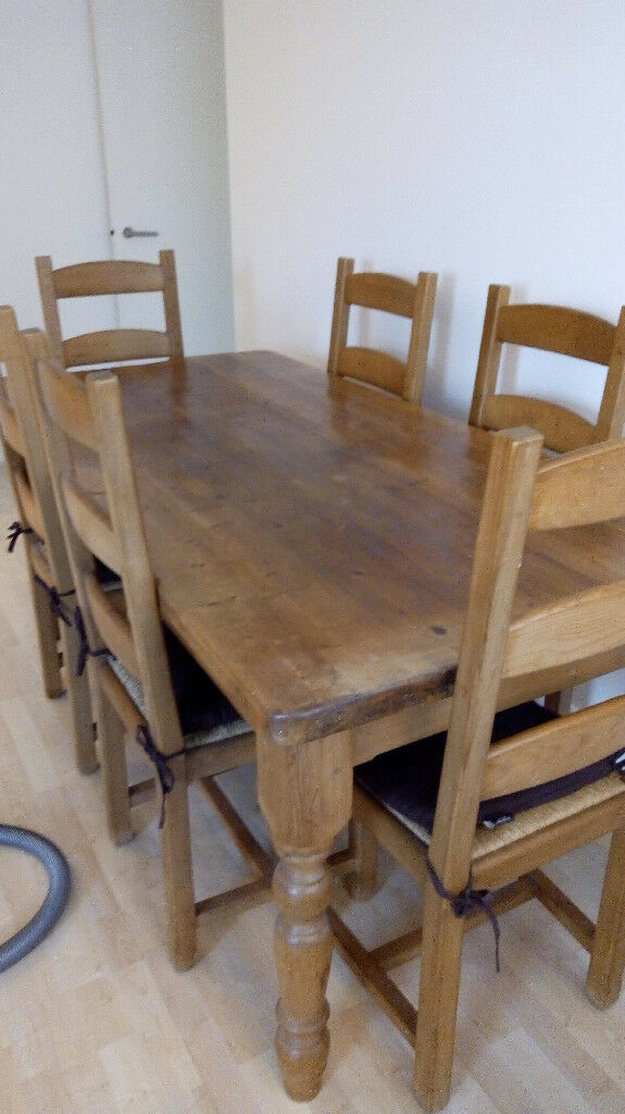 Miraculous Substantial Oak Wooden Dining Table 6 Oak Dining Chairs Reclaimed Wood Hand Made In Kingston London Gumtree Download Free Architecture Designs Embacsunscenecom