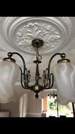 Brass ceiling and wall lights / light fixings / fixtures