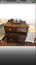 Solid oak 1920s 2 over 2 Chest Of drawers