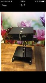 Black glass table with chrome frame