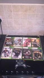 Bundle of Xbox 360 games and controller