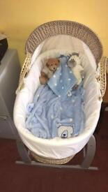 Moses Basket with Grey rocking stand