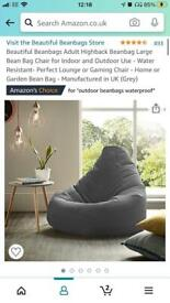 Grey Beanbag chair indoor/outdoor like new £25 or best offer. Collection only from e14