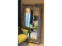 HUGE Silver Mosaic Crackle Edged Framed Mirror Oblong Leaner Large Wall Big 6.5 ft x 3.5 ft RRP £795