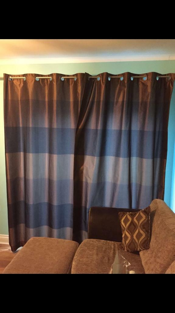 NEXT genuine fully lined brown striped curtains. Quality
