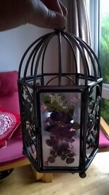 Beautiful rare hexagon glass candle lantern holder with metal leaf pattern and real flowers