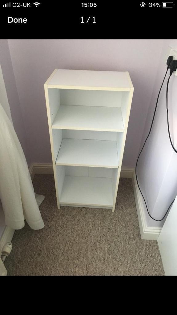 Small white bookcase