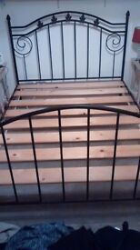 Double Bed in black wrought iron