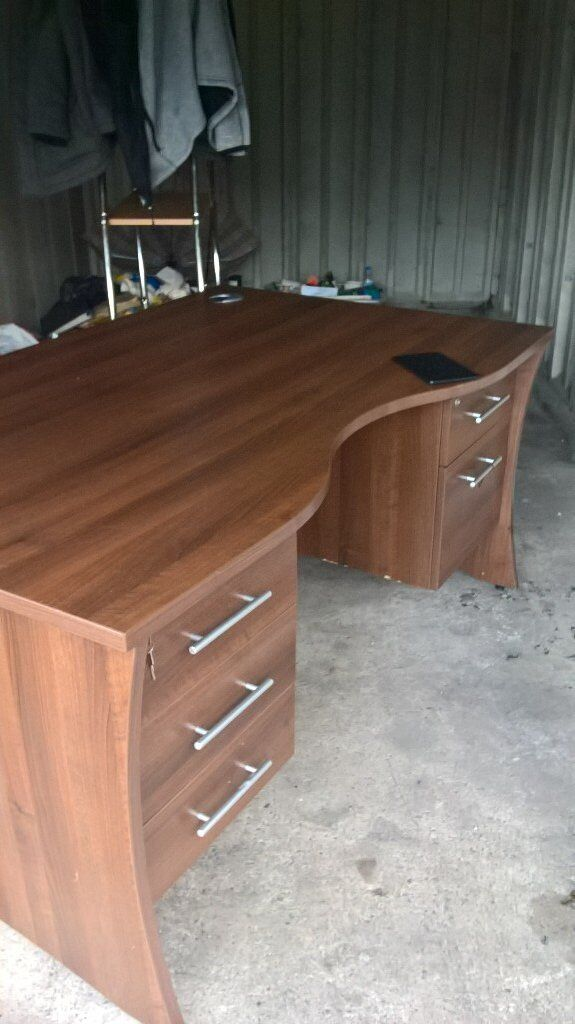 Large Solid Wood with Teak Finish Office Desk with 6 locking Drawers.