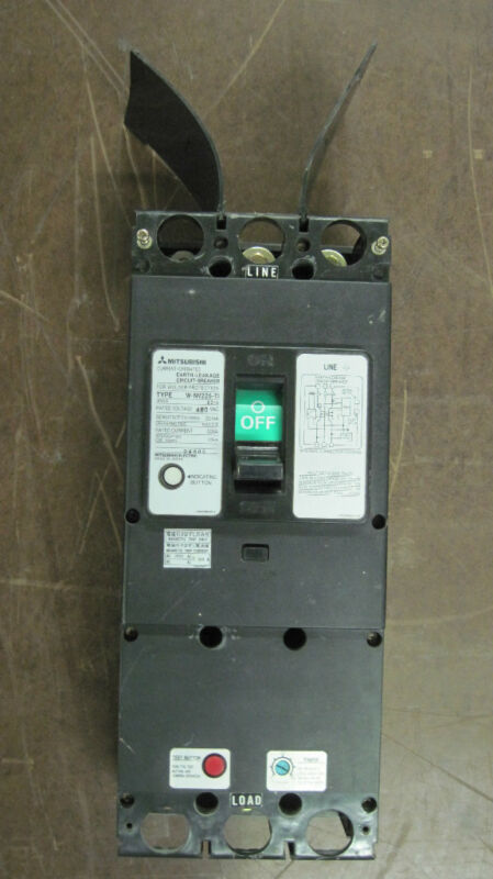 MITSUBISHI EARTH LEAKAGE CIRCUIT BREAKER 225 AMP 480 VOLT TYPE # W-NV225-TI