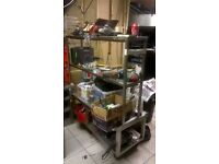 Stainless steel large trolley unit with shelving excellent central London bargain