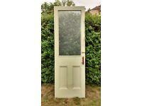 Internal door, 204cm tall, 1930s period, solid wood, half glazed