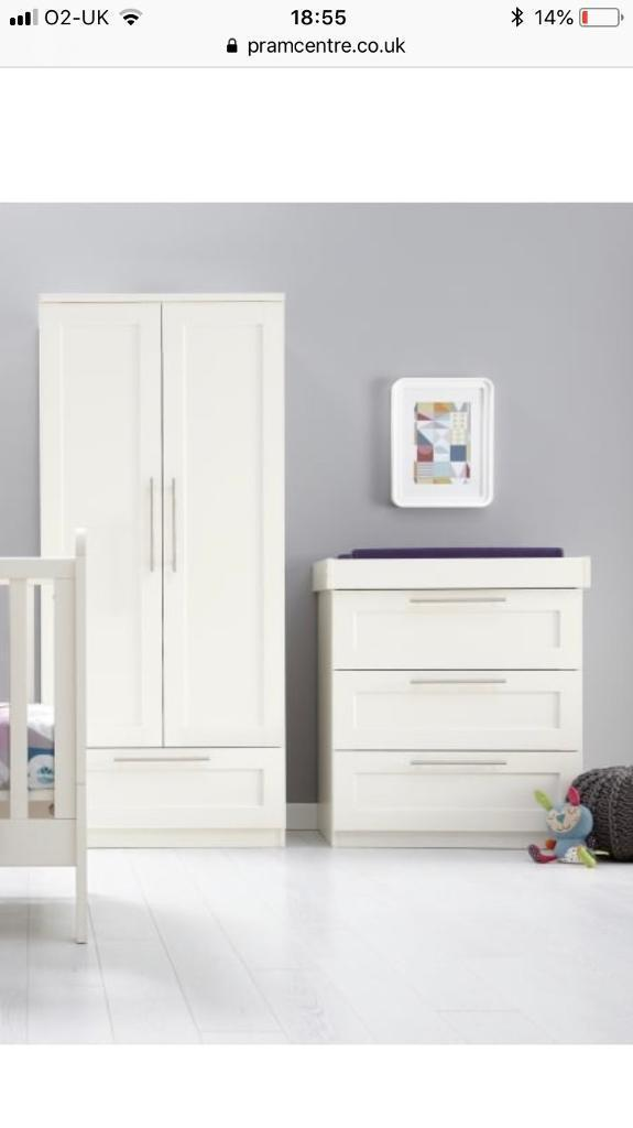 Mamas Papas Rialto Nursery Furniture Wardrobe Chest Of Drawers With Changing Table
