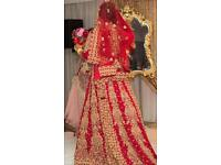 Asian bridal designer long trail dress