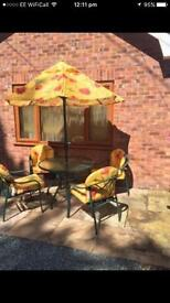 Glass Top Garden Table and Chairs set with Parasol