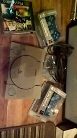 Retro Sony Playstation with controllers & games