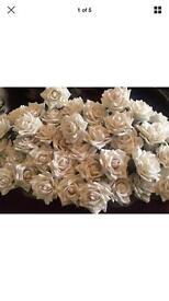 Pack of 73 Wired Velvet Rose Stems - Off White - Luxury Wedding Flowers Roses