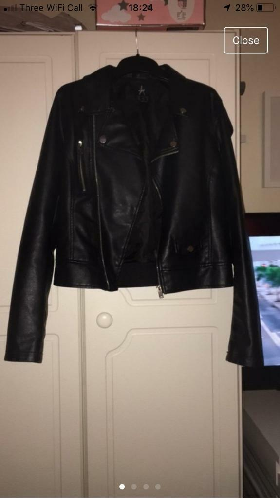 30277634cc32 Size 10 black leather jacket | in Radcliffe, Manchester | Gumtree