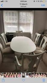 Shabby chic dinning table 6 chairs