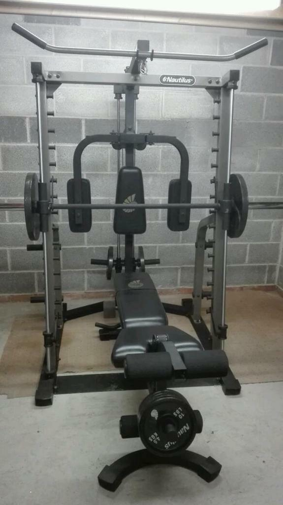 Nautilus smith machine with bench and olympic cast iron