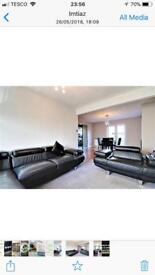 Leather corner sofa and two seater