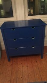 Blue chest of 3 drawers