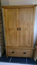 Solid Oak Double Wardrobe. Excellent condition