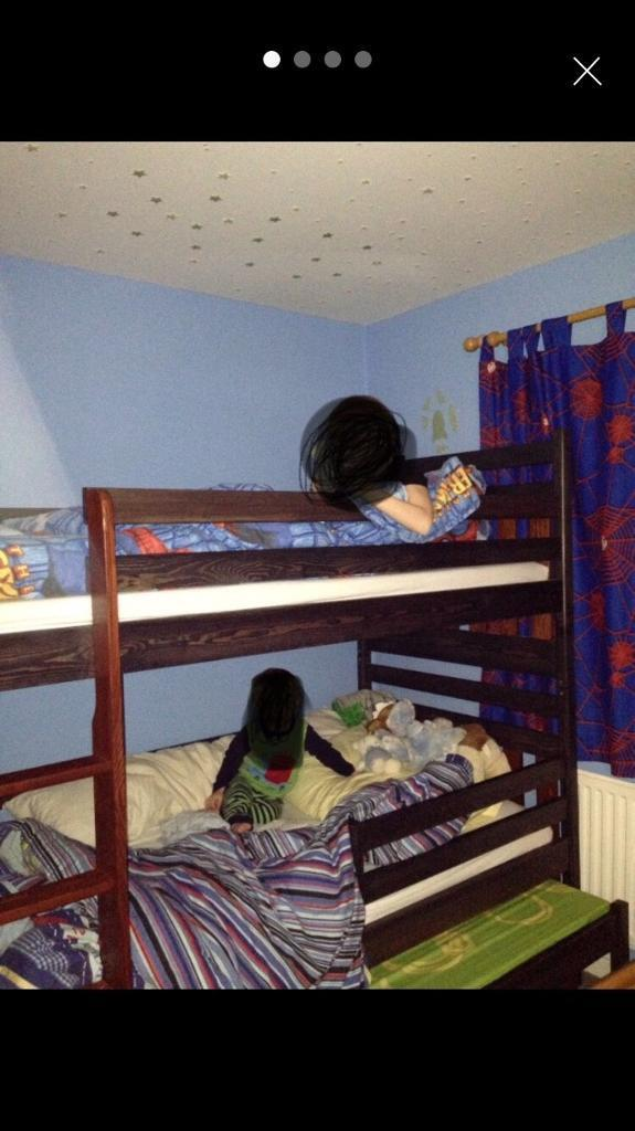 Solid Wooden Bunk Beds With Extra Trundle Triple Beds Storage