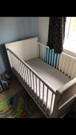 Baby cot, white solid wood with mattress