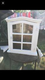 Painted white glass wall cabinet