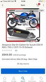 Akrapovic exhaust link pipe l1 k2 600 750 £400