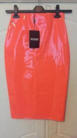 Ladies wet look orange pencil skirt size 8